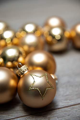 KREBS & SOHN Set Weihnachtskugeln aus Glas 5,7 cm - Christbaumschmuck Christbaumkugeln Weihnachtsdeko - 20-teilig, Gold, Sterne - 4