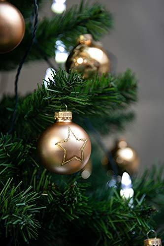 KREBS & SOHN Set Weihnachtskugeln aus Glas 5,7 cm - Christbaumschmuck Christbaumkugeln Weihnachtsdeko - 20-teilig, Gold, Sterne - 5