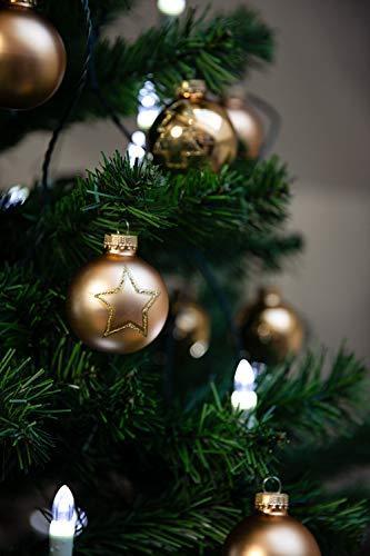 KREBS & SOHN Set Weihnachtskugeln aus Glas 5,7 cm - Christbaumschmuck Christbaumkugeln Weihnachtsdeko - 20-teilig, Gold, Sterne - 6