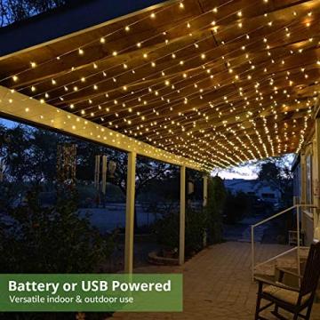 LE Lichtervorhang 3 * 3m, USB Lichterketten Vorhang 300 LEDs Warmweiß, 8 Modi Dimmbare Kupferdraht, Lichterkette Batterie für Außen Innen Deko Schlafzimmer, Partydekoration, Weihnachten, Hochzeit - 2