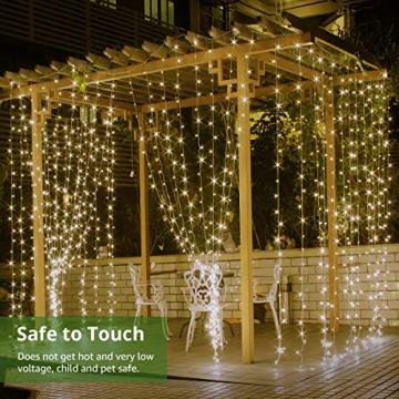 LE Lichtervorhang 3 * 3m, USB Lichterketten Vorhang 300 LEDs Warmweiß, 8 Modi Dimmbare Kupferdraht, Lichterkette Batterie für Außen Innen Deko Schlafzimmer, Partydekoration, Weihnachten, Hochzeit - 3