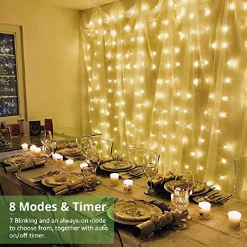 LE Lichtervorhang 3 * 3m, USB Lichterketten Vorhang 300 LEDs Warmweiß, 8 Modi Dimmbare Kupferdraht, Lichterkette Batterie für Außen Innen Deko Schlafzimmer, Partydekoration, Weihnachten, Hochzeit - 4