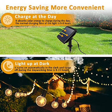 LED Lichterkette Außen Solar,Balippe 8.9M Lichterkette Glühbirne mit 28er+2er,Solar lichterkette Aussen IP55 Wasserdicht 4 Modus für Garten, Hochzeit, Balkon, Haus, Party, Weihnachten Deko, Warmweiß - 3