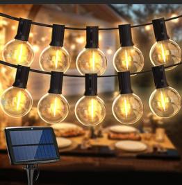 LED Lichterkette Außen Solar,Balippe 8.9M Lichterkette Glühbirne mit 28er+2er,Solar lichterkette Aussen IP55 Wasserdicht 4 Modus für Garten, Hochzeit, Balkon, Haus, Party, Weihnachten Deko, Warmweiß - 1
