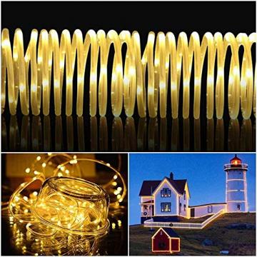 LED Lichtschlauch 200Leds 20Meter Lichterkette mit Fernbedienung Warmweiß 8 Modi IP65 Wasserdicht Weihnachten Deko für Innen Außen Garten Party Hochzeit Weihnachts (LED Lichtschlauch) - 3