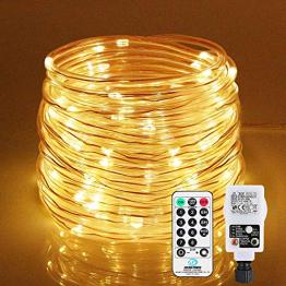 LED Lichtschlauch 200Leds 20Meter Lichterkette mit Fernbedienung Warmweiß 8 Modi IP65 Wasserdicht Weihnachten Deko für Innen Außen Garten Party Hochzeit Weihnachts (LED Lichtschlauch) - 1