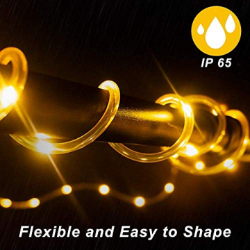 LED Lichtschlauch 200Leds 20Meter Lichterkette mit Fernbedienung Warmweiß 8 Modi IP65 Wasserdicht Weihnachten Deko für Innen Außen Garten Party Hochzeit Weihnachts (LED Lichtschlauch) - 4