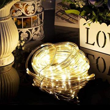 LED Lichtschlauch 200Leds 20Meter Lichterkette mit Fernbedienung Warmweiß 8 Modi IP65 Wasserdicht Weihnachten Deko für Innen Außen Garten Party Hochzeit Weihnachts (LED Lichtschlauch) - 5
