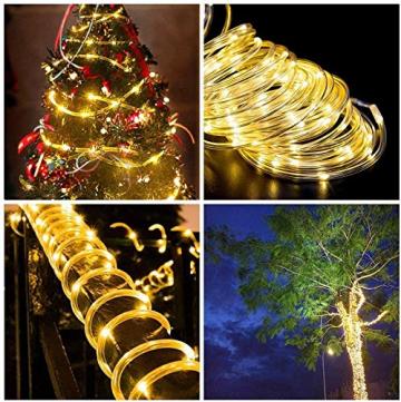 LED Lichtschlauch 200Leds 20Meter Lichterkette mit Fernbedienung Warmweiß 8 Modi IP65 Wasserdicht Weihnachten Deko für Innen Außen Garten Party Hochzeit Weihnachts (LED Lichtschlauch) - 6