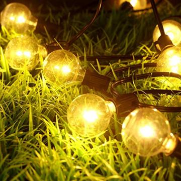 Lichterkette Außen Solar, litogo G40 Solar Lichterkette Glühbirnen Aussen 8M 25+2 LEDs IP55 Wasserdicht 4 Modus Solarlichterkette für Garten, Hochzeit, Balkon, Haus, Weihnachten Deko, Warmweiß 2700K - 3