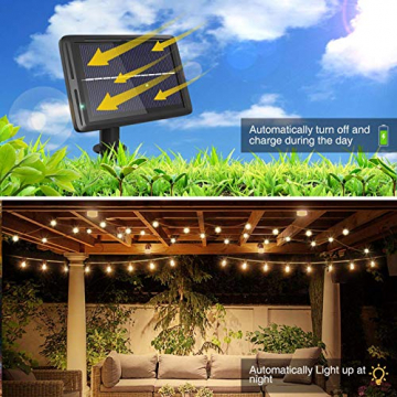 Lichterkette Außen Solar, litogo G40 Solar Lichterkette Glühbirnen Aussen 8M 25+2 LEDs IP55 Wasserdicht 4 Modus Solarlichterkette für Garten, Hochzeit, Balkon, Haus, Weihnachten Deko, Warmweiß 2700K - 4