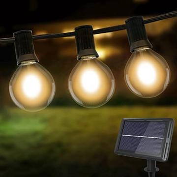 Lichterkette Außen Solar, litogo G40 Solar Lichterkette Glühbirnen Aussen 8M 25+2 LEDs IP55 Wasserdicht 4 Modus Solarlichterkette für Garten, Hochzeit, Balkon, Haus, Weihnachten Deko, Warmweiß 2700K - 1