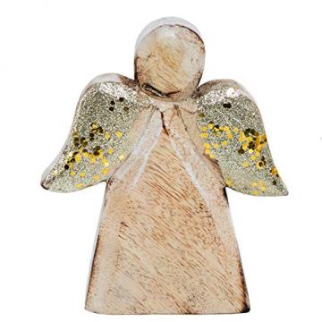 Logbuch-Verlag Massiver Holzengel Figur Holz Engel Weihnachtsdeko GOLDEN glitzernde Flügel Holzdeko Weihnachtsengel Schutzengel Natur Deko - 1