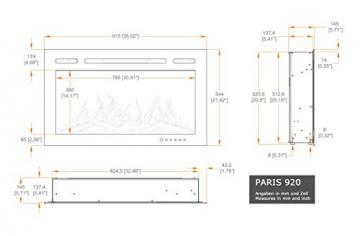 "Noble Flame Paris Schwarz 920 (92 cm / 36"") - Elektrokamin Wandkamin Kaminofen Kamin - Wandmontage Fernbedienung - 14,5 cm Einbautiefe - 2"
