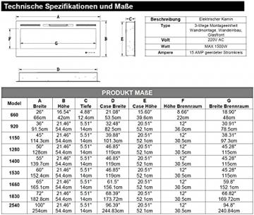 "Noble Flame Paris Schwarz 920 (92 cm / 36"") - Elektrokamin Wandkamin Kaminofen Kamin - Wandmontage Fernbedienung - 14,5 cm Einbautiefe - 5"