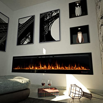 "Noble Flame Paris Schwarz 920 (92 cm / 36"") - Elektrokamin Wandkamin Kaminofen Kamin - Wandmontage Fernbedienung - 14,5 cm Einbautiefe - 6"