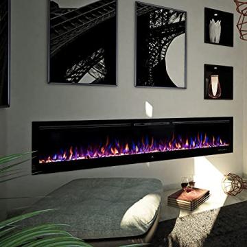 "Noble Flame Paris Schwarz 920 (92 cm / 36"") - Elektrokamin Wandkamin Kaminofen Kamin - Wandmontage Fernbedienung - 14,5 cm Einbautiefe - 8"