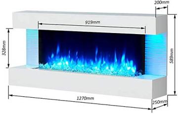 RICHEN Elektrokamin Helia - Elektrischer Wandkamin Mit Heizung, LED-Beleuchtung, 3D-Flammeneffekt & Fernbedienung - Weiß - 3
