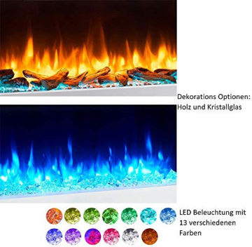 RICHEN Elektrokamin Helia - Elektrischer Wandkamin Mit Heizung, LED-Beleuchtung, 3D-Flammeneffekt & Fernbedienung - Weiß - 4