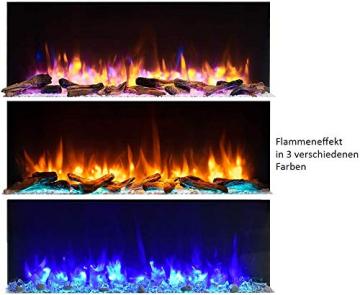 RICHEN Elektrokamin Helia - Elektrischer Wandkamin Mit Heizung, LED-Beleuchtung, 3D-Flammeneffekt & Fernbedienung - Weiß - 5