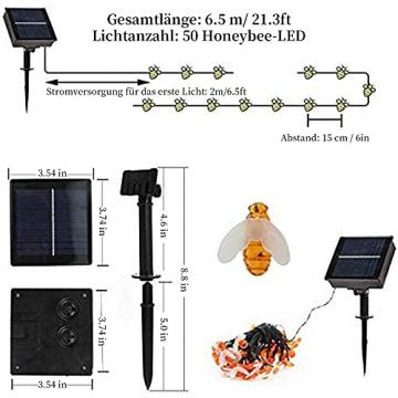 Solar Lichterkette, 50 Süße Honigbienen LED Lichter, 7M / 24Ft 8 Modi Sternenlichter, Wasserdichte Feenhafte Dekorative Lichterketten für Außen, Hochzeits, Wohn, Garten, Terrassen, Party(Warmweiß) - 3