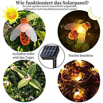 Solar Lichterkette, 50 Süße Honigbienen LED Lichter, 7M / 24Ft 8 Modi Sternenlichter, Wasserdichte Feenhafte Dekorative Lichterketten für Außen, Hochzeits, Wohn, Garten, Terrassen, Party(Warmweiß) - 6