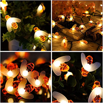 Solar Lichterkette, 50 Süße Honigbienen LED Lichter, 7M / 24Ft 8 Modi Sternenlichter, Wasserdichte Feenhafte Dekorative Lichterketten für Außen, Hochzeits, Wohn, Garten, Terrassen, Party(Warmweiß) - 7