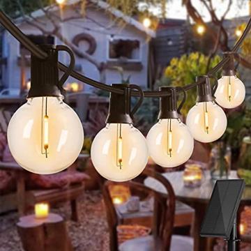 Solar Lichterkette Glühbirnen Aussen, Bomcosy 15M 25 LEDs G40 Außen Beleuchtung, USB wiederaufladbar, 4 Modus Solarlichterkette für Garten, Hochzeit, Balkon, Haus, Weihnachten Deko, Warmweiß 2700K - 1