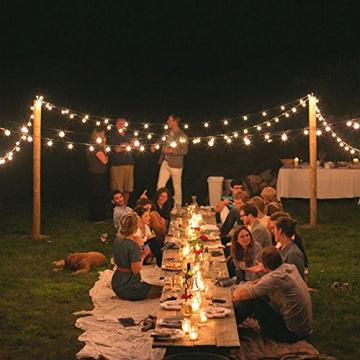 Solar Lichterkette Glühbirnen Aussen, Bomcosy 15M 25 LEDs G40 Außen Beleuchtung, USB wiederaufladbar, 4 Modus Solarlichterkette für Garten, Hochzeit, Balkon, Haus, Weihnachten Deko, Warmweiß 2700K - 5