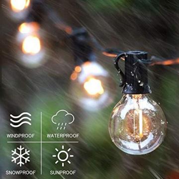 Solar Lichterkette Glühbirnen Aussen, Bomcosy 15M 25 LEDs G40 Außen Beleuchtung, USB wiederaufladbar, 4 Modus Solarlichterkette für Garten, Hochzeit, Balkon, Haus, Weihnachten Deko, Warmweiß 2700K - 7