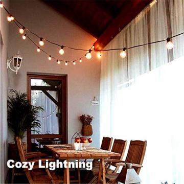 Solar Lichterkette Glühbirnen Aussen, Bomcosy 15M 25 LEDs G40 Außen Beleuchtung, USB wiederaufladbar, 4 Modus Solarlichterkette für Garten, Hochzeit, Balkon, Haus, Weihnachten Deko, Warmweiß 2700K - 8