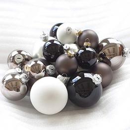 Weihnachtskugeln Christbaumkugeln 50 Stück Glas Schwarz Weiß Silber Anthrazit - 1