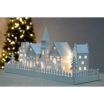 WeRChristmas Beleuchtete Weihnachtsdekoration mit Kirchenmotiv, aus Holz, mit LED-Lichtern, 45cm,Weiß - 2