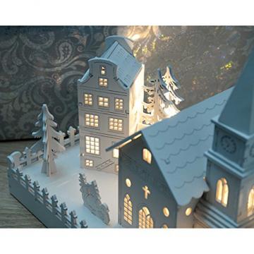 WeRChristmas Beleuchtete Weihnachtsdekoration mit Kirchenmotiv, aus Holz, mit LED-Lichtern, 45cm,Weiß - 3