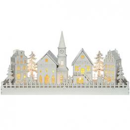 WeRChristmas Beleuchtete Weihnachtsdekoration mit Kirchenmotiv, aus Holz, mit LED-Lichtern, 45cm,Weiß - 1