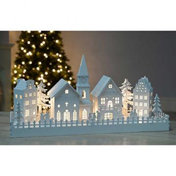 WeRChristmas Beleuchtete Weihnachtsdekoration mit Kirchenmotiv, aus Holz, mit LED-Lichtern, 45cm,Weiß - 4