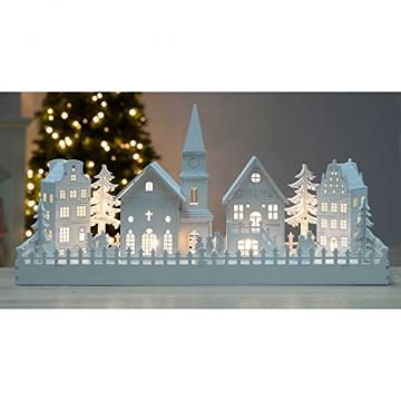 WeRChristmas Beleuchtete Weihnachtsdekoration mit Kirchenmotiv, aus Holz, mit LED-Lichtern, 45cm,Weiß - 5