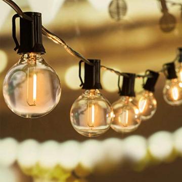 WOWDSGN 30+3 Stk. G40 Glühbirnen Lichterkette Außen, LED Glühlampen Lichterkette für Innen und Außen, Strombetrieben, Wasserdicht, keine Kitze, ideal für Weihnachtsdeko, Hochzeit, Party usw. - 1