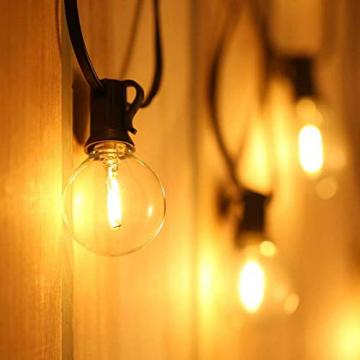 WOWDSGN 30+3 Stk. G40 Glühbirnen Lichterkette Außen, LED Glühlampen Lichterkette für Innen und Außen, Strombetrieben, Wasserdicht, keine Kitze, ideal für Weihnachtsdeko, Hochzeit, Party usw. - 5