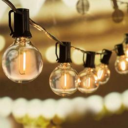 WOWDSGN 30+6 Stk. G40 Glühbirnen Lichterkette Außen, LED Glühlampen Lichterkette für Innen und Außen, Strombetrieben, Wasserdicht, keine Kitze, ideal für Weihnachtsdeko, Hochzeit, Party usw. - 1