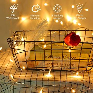100 LED Lichterkette Außen Batterie, BrizLabs Warmweiß Weihnachtsbeleuchtung Innen 8 Modi Wasserdicht mit Timer für Zimmer Weihnachten Party Hochzeit Beleuchtung Deko, Durchsichtigen Kabeln - 3