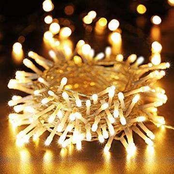 100 LED Lichterkette Außen Batterie, BrizLabs Warmweiß Weihnachtsbeleuchtung Innen 8 Modi Wasserdicht mit Timer für Zimmer Weihnachten Party Hochzeit Beleuchtung Deko, Durchsichtigen Kabeln - 1