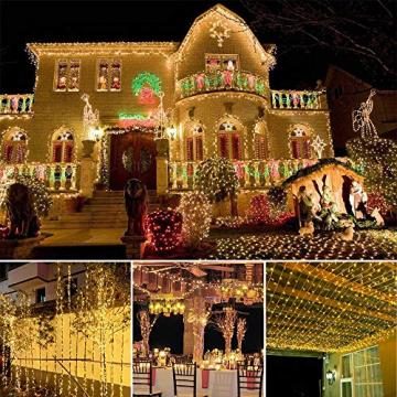 100 LED Lichterkette Außen Batterie, BrizLabs Warmweiß Weihnachtsbeleuchtung Innen 8 Modi Wasserdicht mit Timer für Zimmer Weihnachten Party Hochzeit Beleuchtung Deko, Durchsichtigen Kabeln - 5