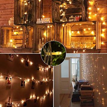 100 LED Lichterkette Außen Batterie, BrizLabs Warmweiß Weihnachtsbeleuchtung Innen 8 Modi Wasserdicht mit Timer für Zimmer Weihnachten Party Hochzeit Beleuchtung Deko, Durchsichtigen Kabeln - 6