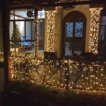 100 LED Lichterkette Außen Batterie, BrizLabs Warmweiß Weihnachtsbeleuchtung Innen 8 Modi Wasserdicht mit Timer für Zimmer Weihnachten Party Hochzeit Beleuchtung Deko, Durchsichtigen Kabeln - 7
