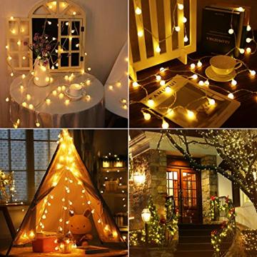 100 LED Lichterkette Außen,13 Meter Strombetrieben Lichterkette Innen Kugel mit Fernbedienung Timer, IP65 Wasserdicht Lichterkette Warmweiße für Party Weihnachten Garten und Innendeko - 3