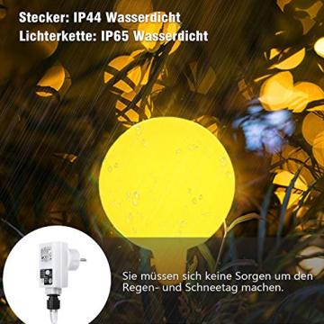 100 LED Lichterkette Außen,13 Meter Strombetrieben Lichterkette Innen Kugel mit Fernbedienung Timer, IP65 Wasserdicht Lichterkette Warmweiße für Party Weihnachten Garten und Innendeko - 5
