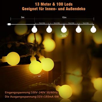 100 LED Lichterkette Außen,13 Meter Strombetrieben Lichterkette Innen Kugel mit Fernbedienung Timer, IP65 Wasserdicht Lichterkette Warmweiße für Party Weihnachten Garten und Innendeko - 6