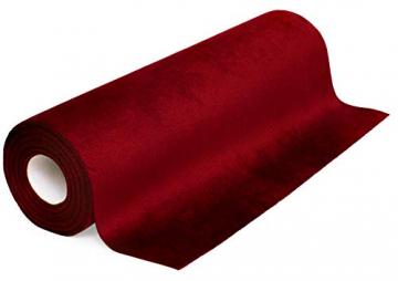 100% Mosel Tischläufer Samt, in Bordeaux Rot (28 cm x 5 m), Tischband aus Polyester in matter Samt-Optik, edle Tischdeko für den Herbst & Winter, Dekoration zu besonderen Anlässen - 1