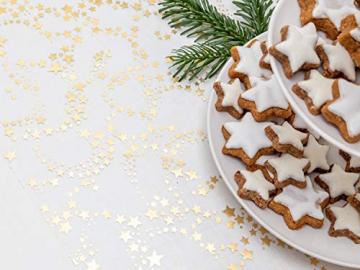 100%Mosel Tischläufer Sterne, in Gold/Metallic (28 cm x 5 m), Tischband aus Organza, edle Tischdeko für Weihnachten & Adventszeit, Festliche Dekoration zu besonderen Anlässen - 2